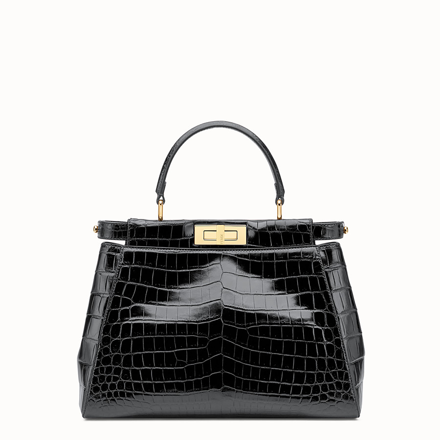 FENDI PEEKABOO REGULAR - Black crocodile leather handbag. - view 1 detail