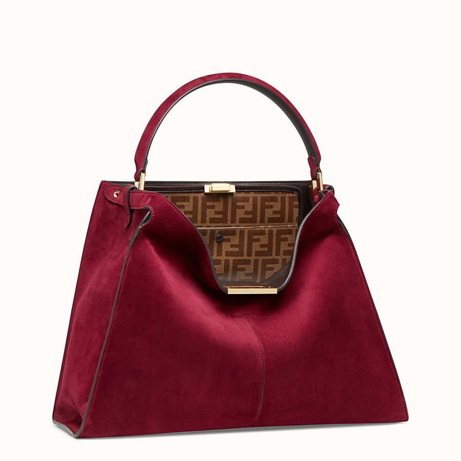 FENDI PEEKABOO X-LITE - Fuchsia coloured suede bag - view 4 detail