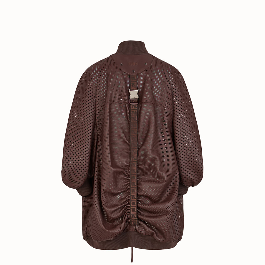 FENDI BOMBER - Brown nappa leather bomber jacket - view 2 detail