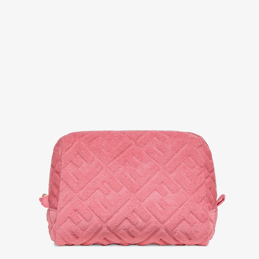 FENDI MEDIUM BEAUTY POUCH - Pink terrycloth toiletry case - view 1 detail