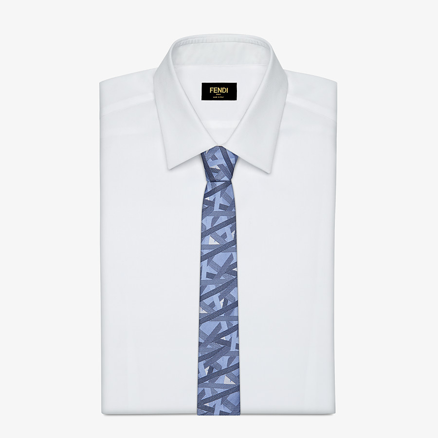 FENDI TIE - Pale blue silk necktie - view 2 detail