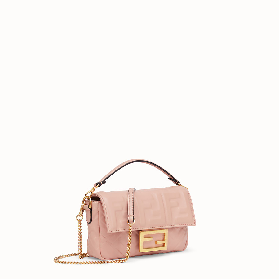 FENDI BAGUETTE - Pink nappa leather bag - view 3 detail