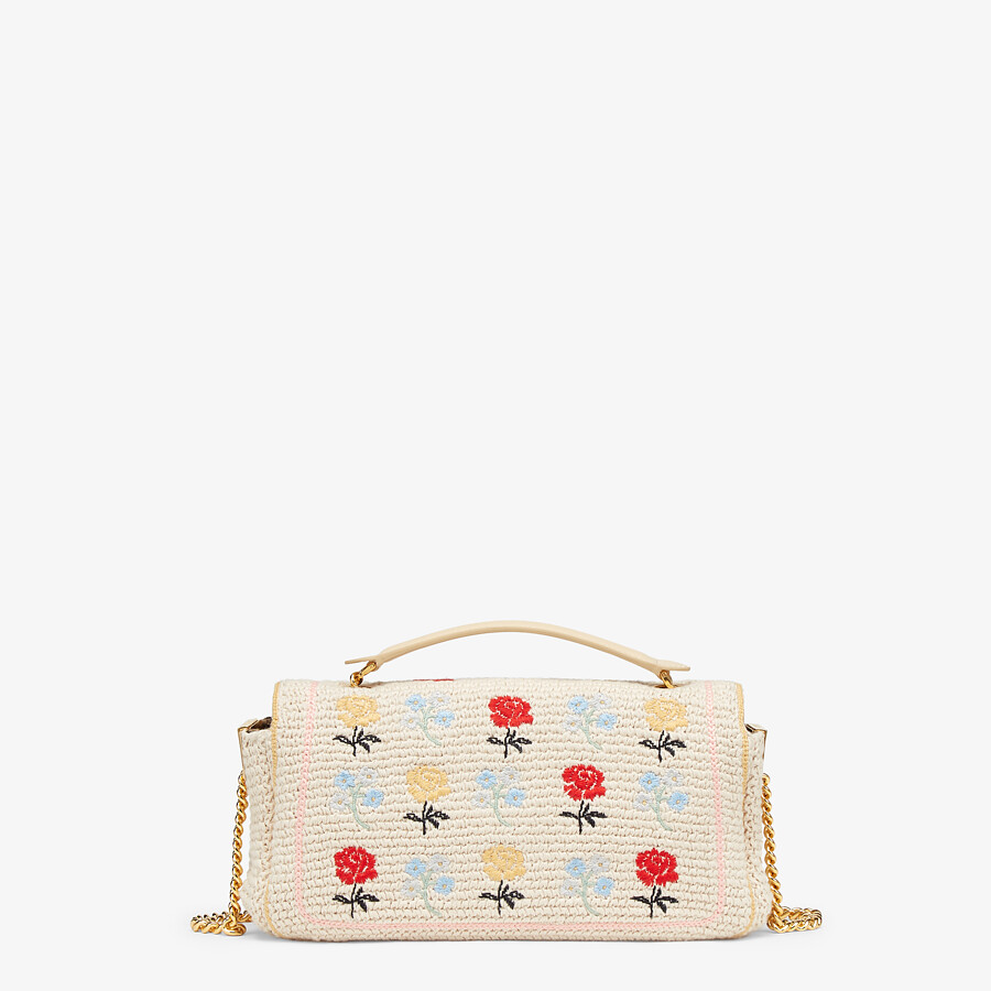 FENDI BAGUETTE - White embroidered cotton bag - view 3 detail