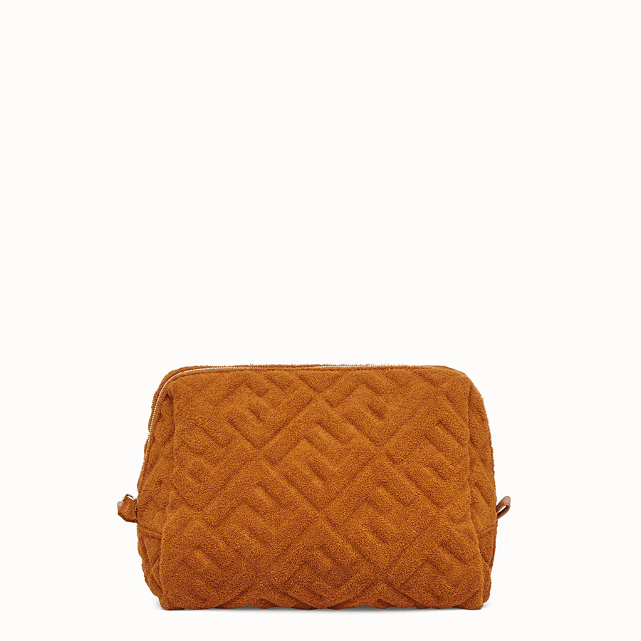 FENDI MEDIUM BEAUTY POUCH - Brown towelling toiletry case - view 1 detail