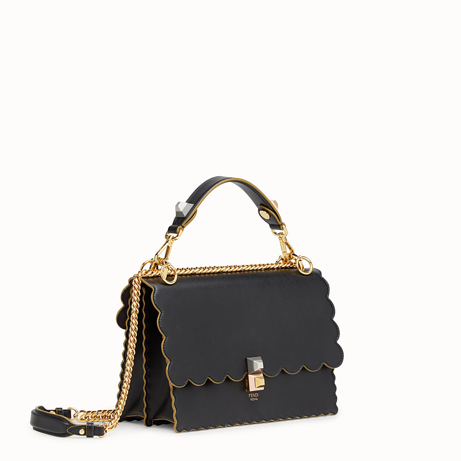 FENDI KAN I - Black and gold leather bag - view 2 detail