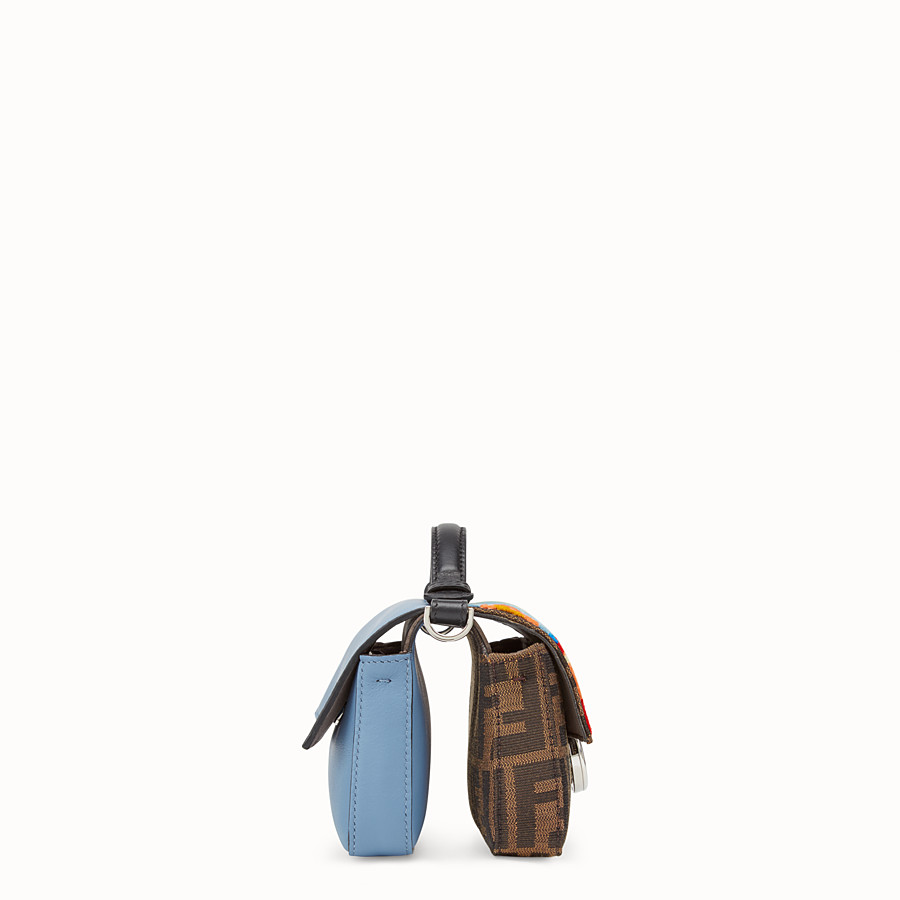 FENDI DOUBLE MICRO BAGUETTE - Multicolour fabric and leather mini-bag - view 2 detail