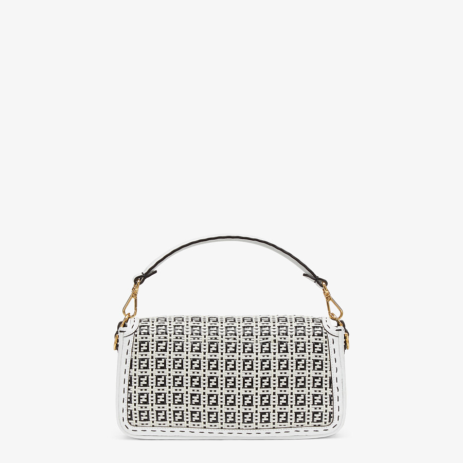 FENDI BAGUETTE - Black and white braided leather bag - view 3 detail
