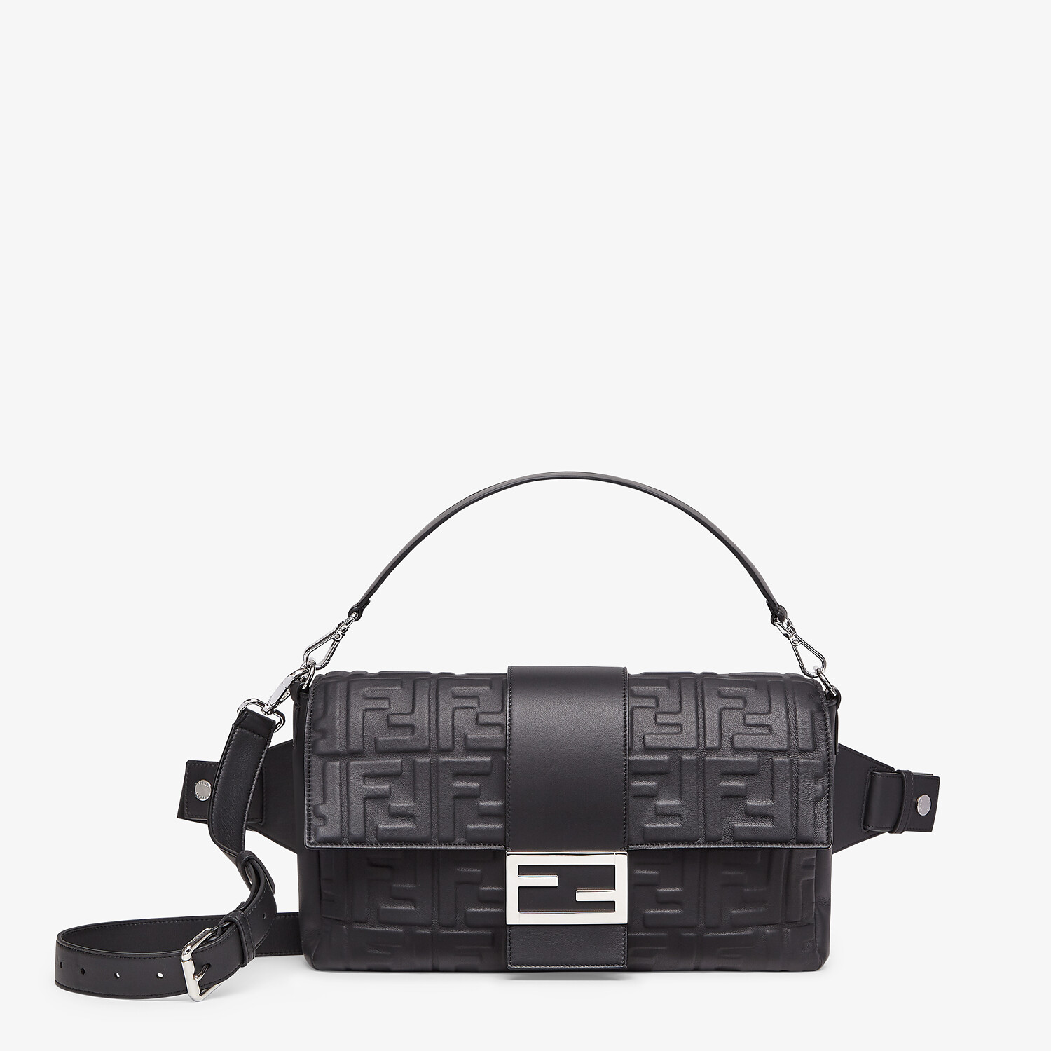 FENDI BAGUETTE LARGE - Black nappa leather bag - view 1 detail