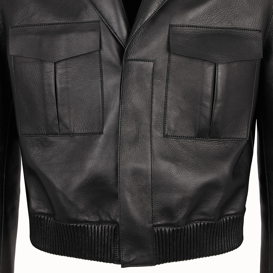 FENDI JACKET - Black leather jacket - view 3 detail
