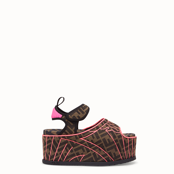 FENDI FLATFORM - Multicolor fabric sandals - view 1 small thumbnail