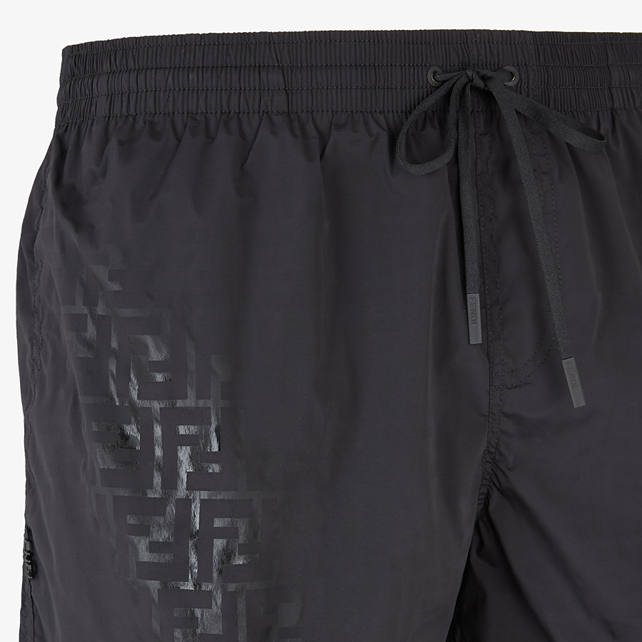 FENDI SWIM SHORTS - Black nylon swim shorts - view 3 detail