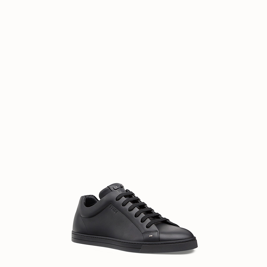 FENDI SNEAKER - Black leather lace-ups - view 2 detail