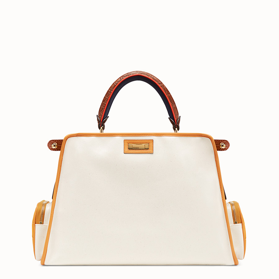 FENDI PEEKABOO REGULAR - Beige canvas bag with cover - view 4 detail