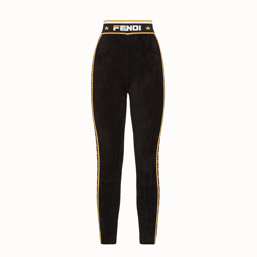 FENDI LEGGINGS - Black fabric trousers - view 1 detail