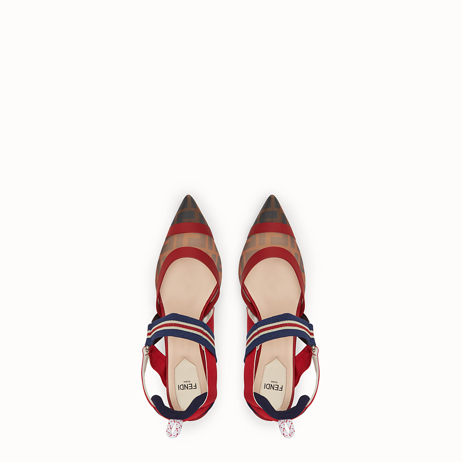 FENDI COURT SHOES - Multicolour tech mesh slingbacks - view 4 detail