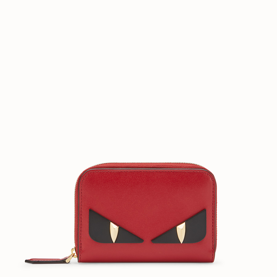 FENDI SMALL ZIP-AROUND - Red leather wallet - view 1 detail