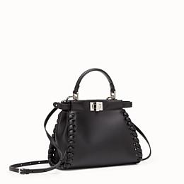 FENDI PEEKABOO ICONIC MINI - Handtasche aus schwarzem Nappaleder mit Webdetail - view 2 thumbnail