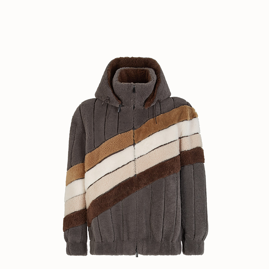 FENDI JACKET - Grey sheepskin jacket - view 1 detail