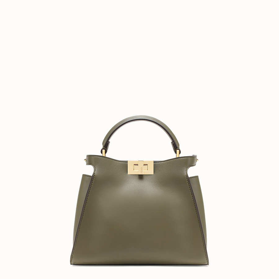FENDI PEEKABOO ESSENTIALLY - Green leather bag - view 1 detail