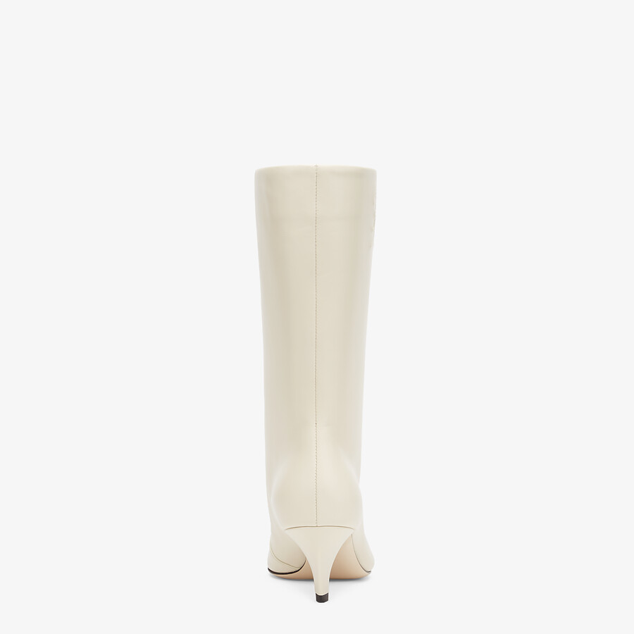 FENDI KARLIGRAPHY - White leather boots with medium heel - view 3 detail