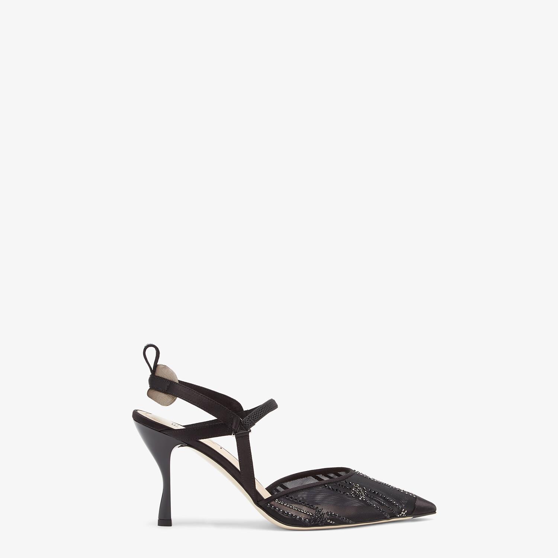 FENDI COLIBRÌ - Black mesh and rhinestone embroidery high-heeled slingbacks - view 1 detail