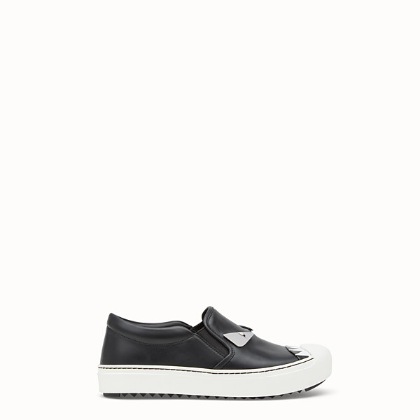 FENDI SNEAKER - Black leather slip-ons - view 1 small thumbnail