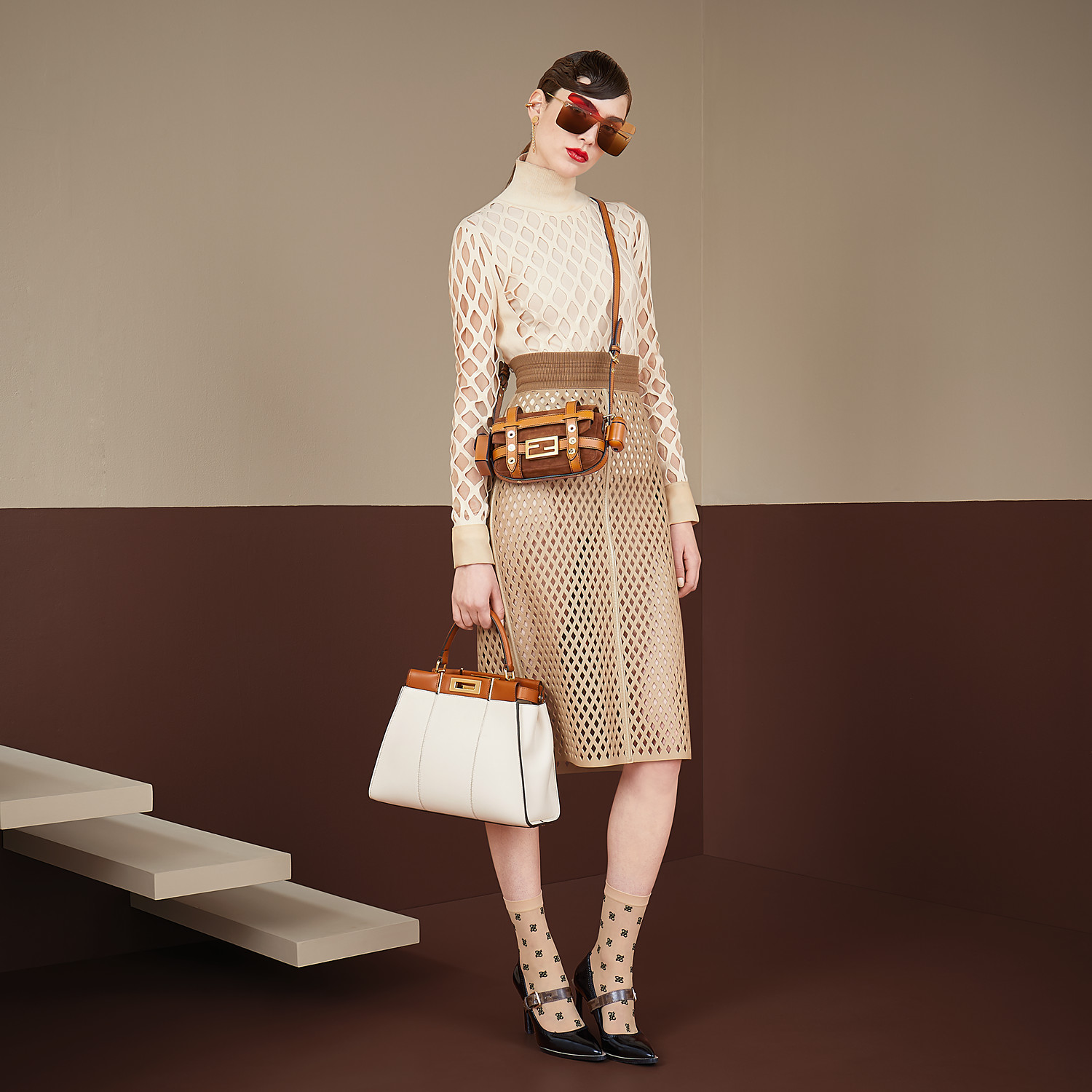 FENDI BAGUETTE MINI CAGE - Brown suede and leather bag - view 2 detail
