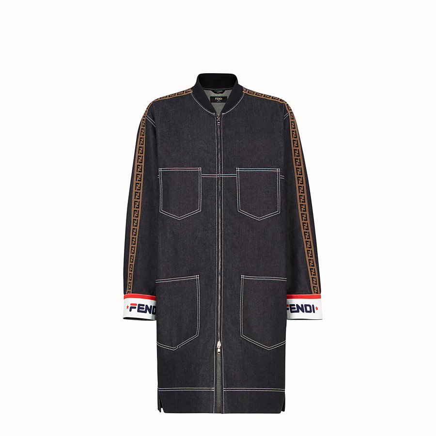 FENDI PARKA - Blue denim jacket - view 1 detail