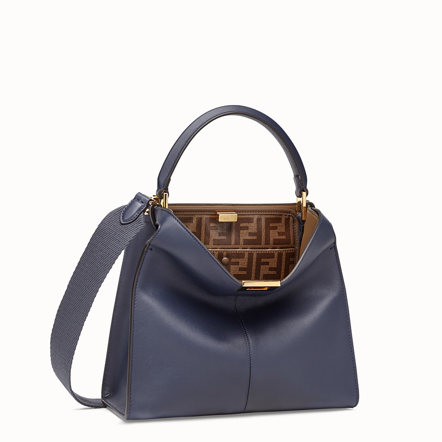 FENDI PEEKABOO X-LITE MEDIUM - Blue leather bag - view 3 detail