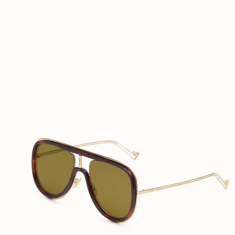 FENDI FUTURISTIC FENDI - Sonnenbrille in Gold und Havanna - view 2 detail