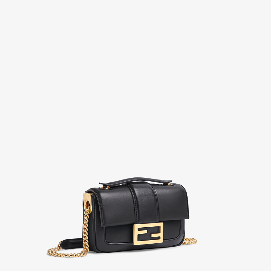 FENDI MINI BAGUETTE CHAIN - Black nappa leather bag - view 2 detail