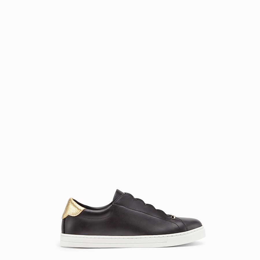FENDI SNEAKERS - Black leather slip-ons - view 1 detail