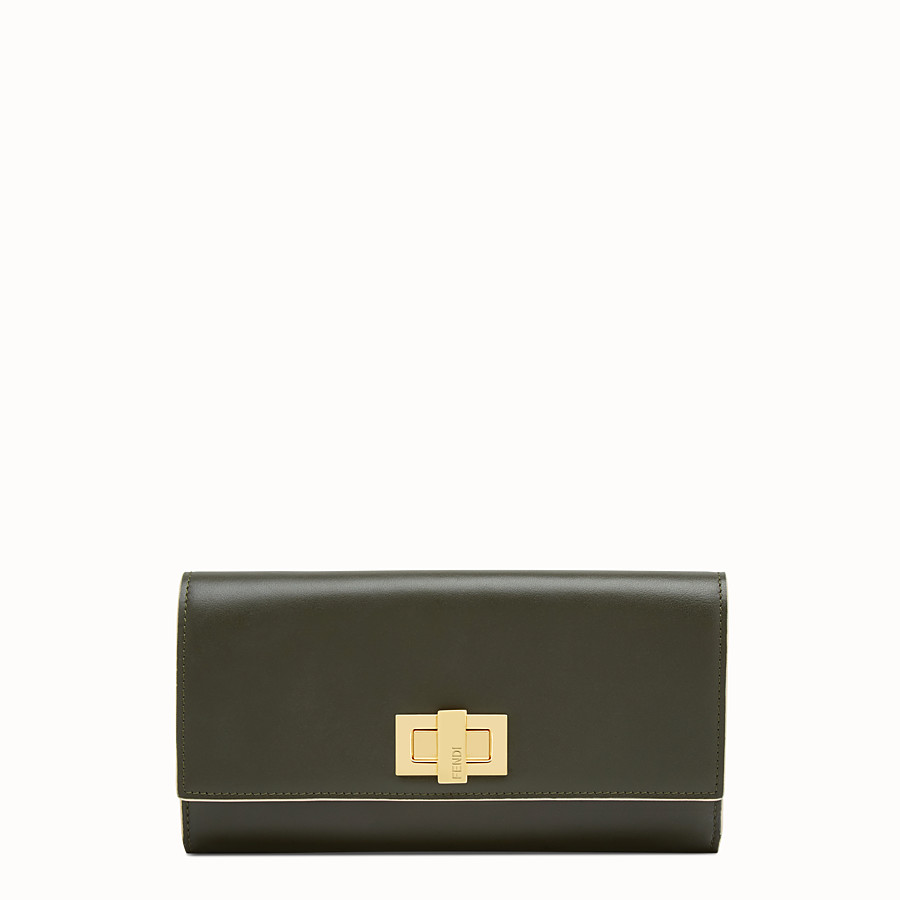 FENDI PEEKABOO CONTINENTAL WALLET - Green leather continental wallet - view 1 detail