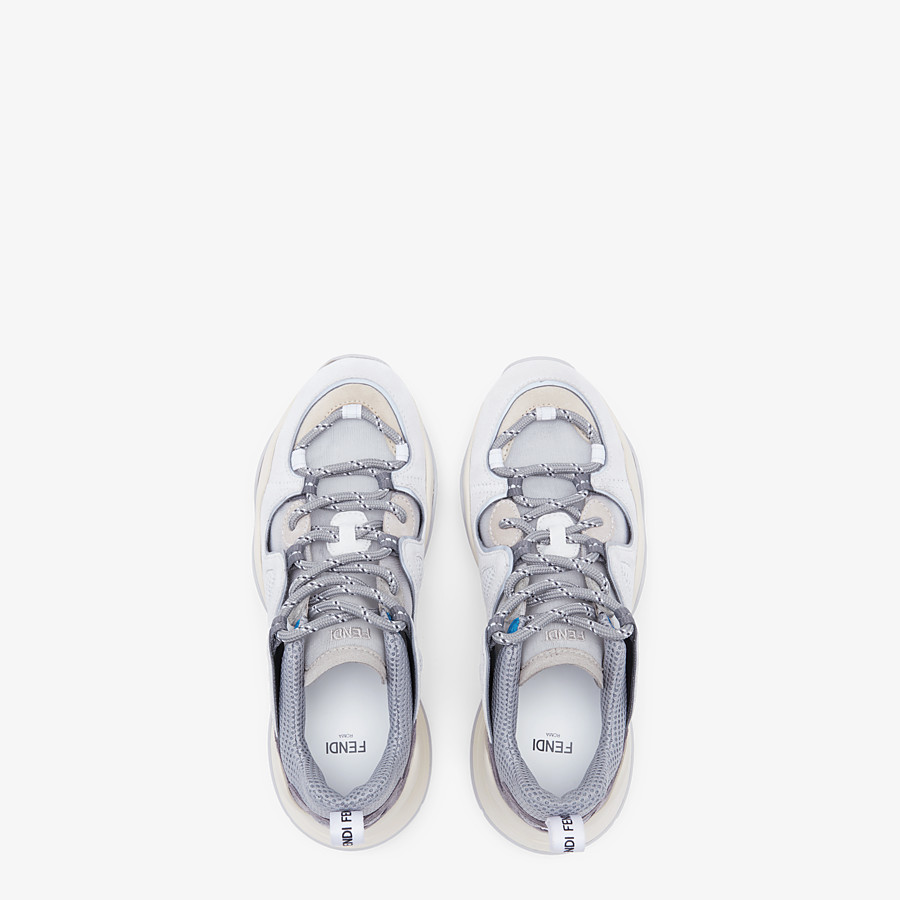 FENDI SNEAKERS - White sued low tops - view 4 detail