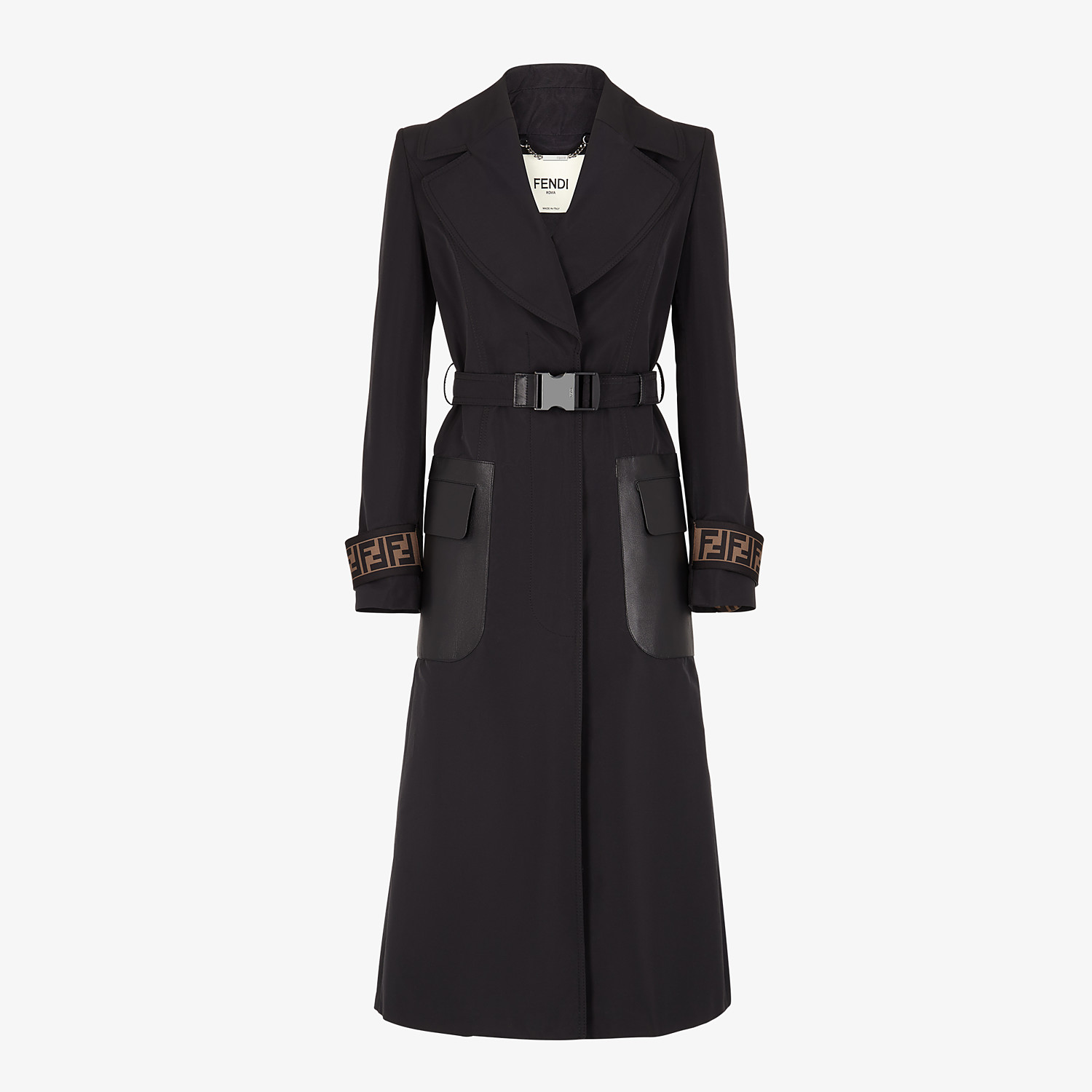 FENDI OVERCOAT - Black faille trench coat - view 1 detail