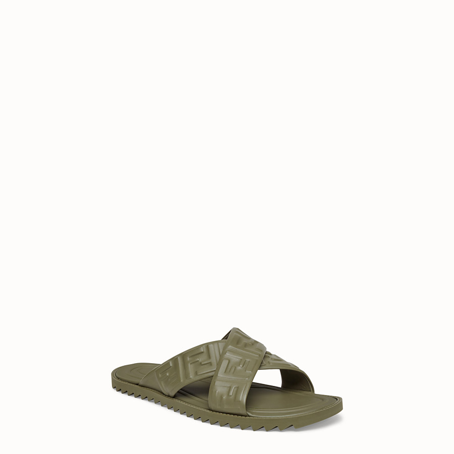 FENDI SANDALS - Green leather slides - view 2 detail