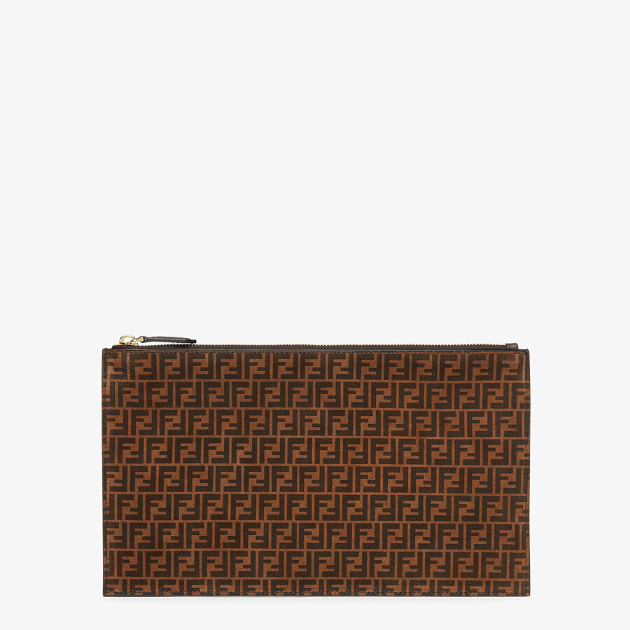 FENDI FLAT POUCH MEDIUM - Brown leather pouch - view 1 detail