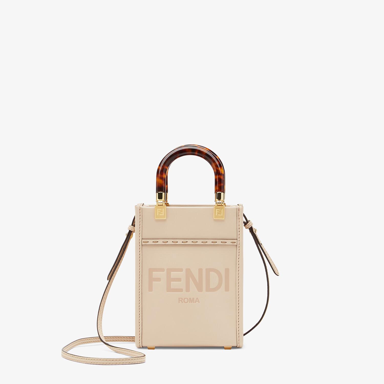 FENDI MINI SUNSHINE SHOPPER - Pink leather mini-bag - view 1 detail