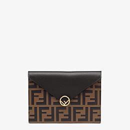 FENDI MEDIUM FLAT POUCH - Brown leather pouch - view 1 thumbnail