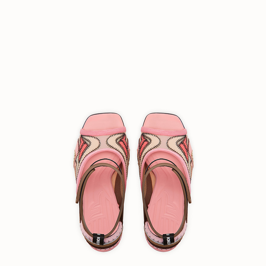 FENDI SANDALS - Pink technical mesh sandals - view 4 detail