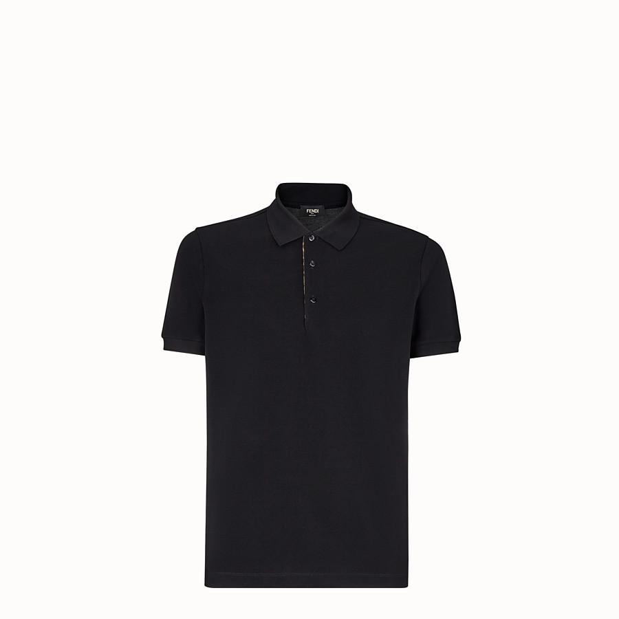 FENDI POLO SHIRT - Black piqué polo shirt - view 1 detail