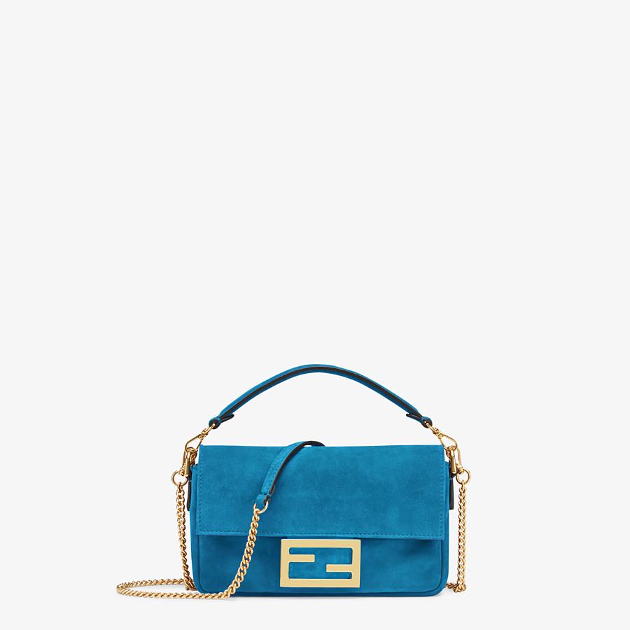 FENDI MINI BAGUETTE - Blue suede bag - view 1 detail