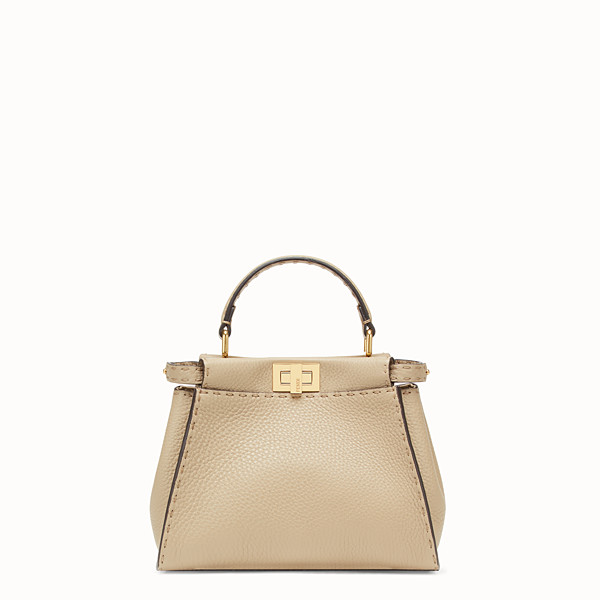 FENDI PEEKABOO ICONIC MINI - Beige leather bag - view 1 small thumbnail