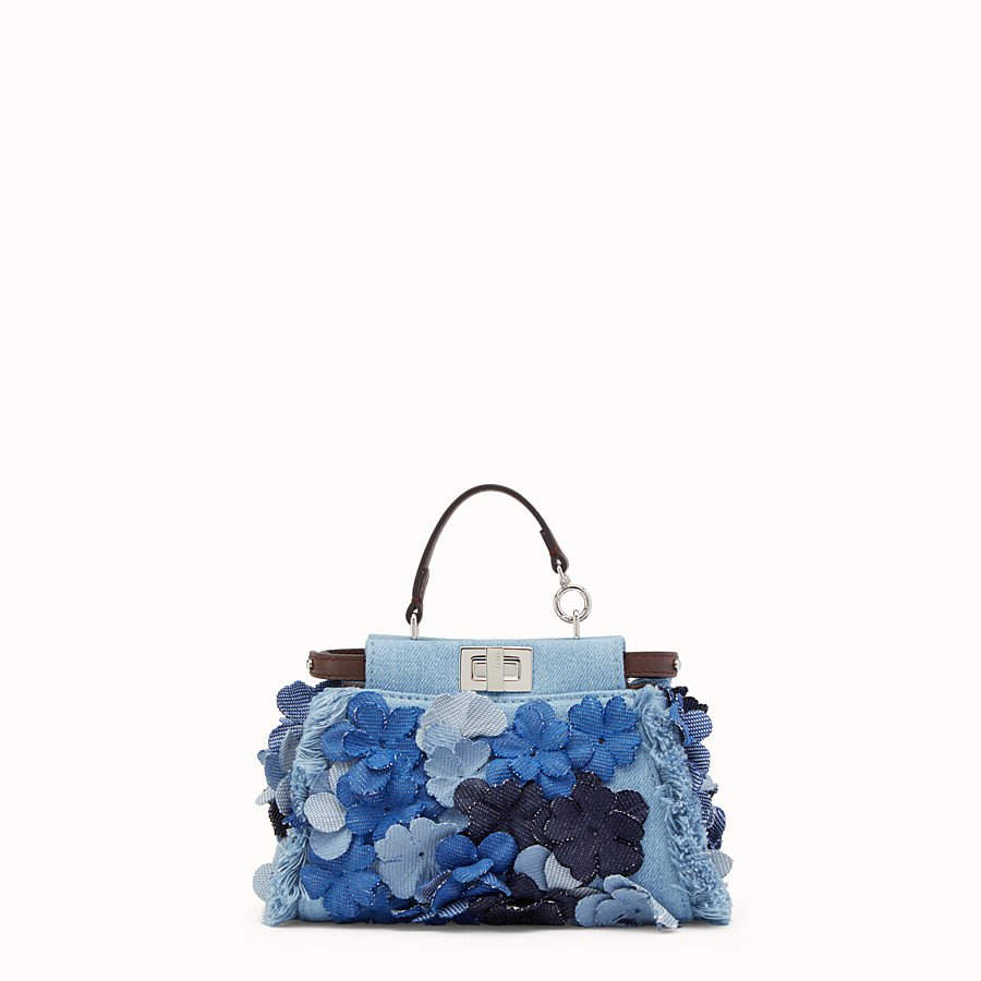 FENDI MICRO PEEKABOO - Microbag in denim fabric and flowers - view 1 detail