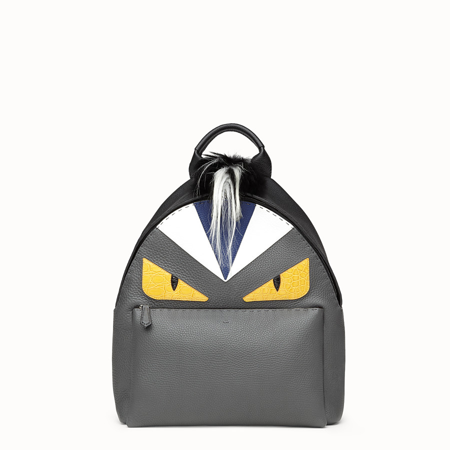 FENDI BACKPACK - in black and grey Roman leather - view 1 detail