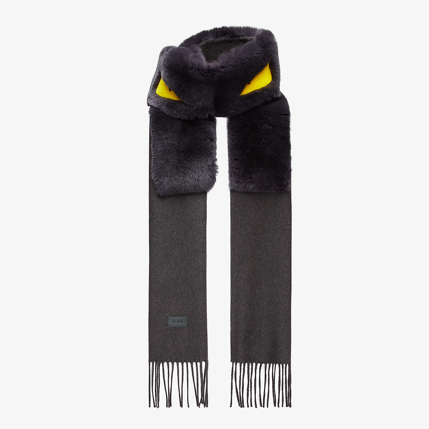 FENDI SCARF - Silk, cashmere and fur scarf - view 2 detail