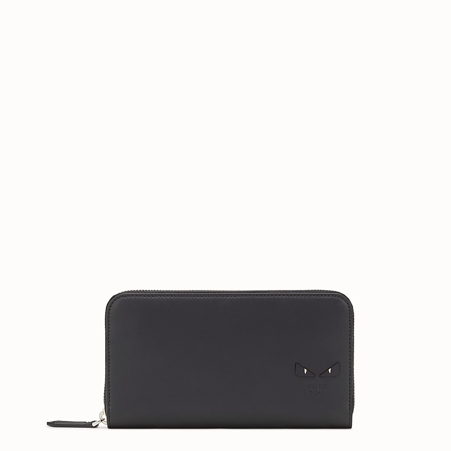 FENDI WALLET - Smooth black leather zip-around wallet - view 1 detail