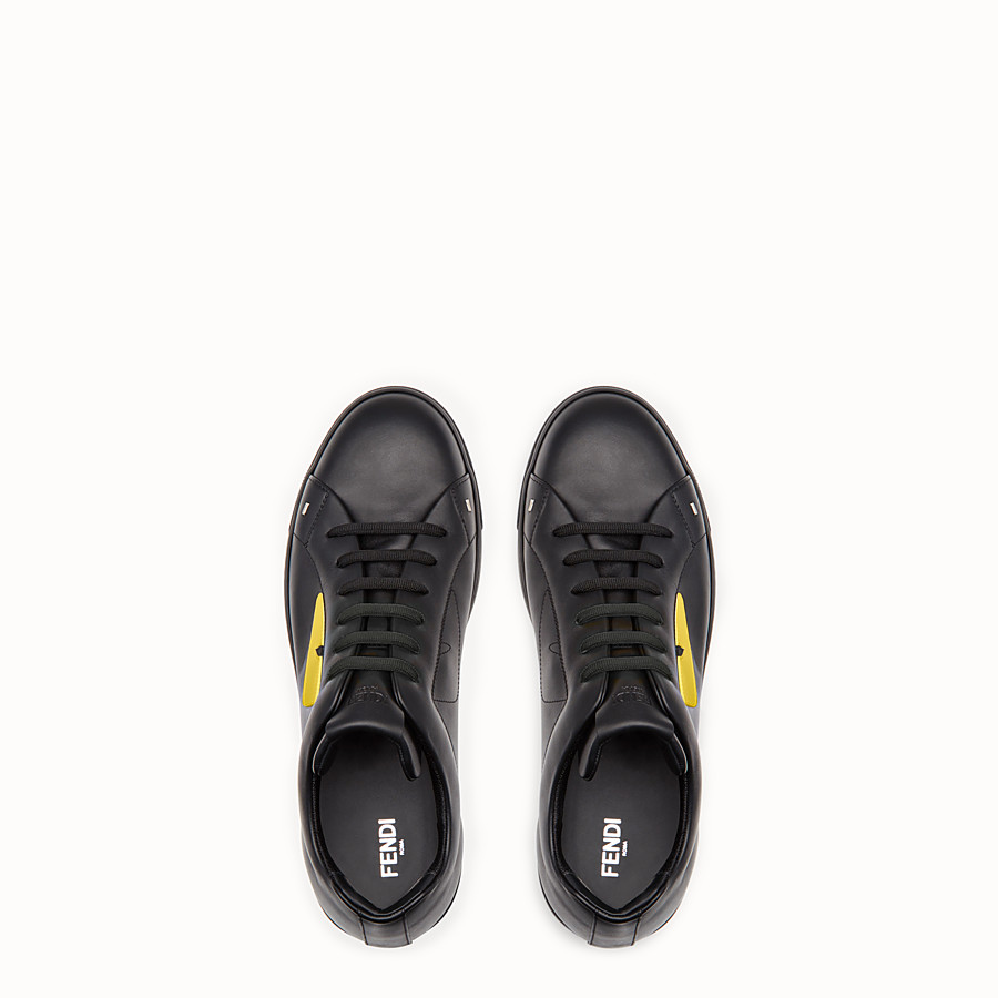 FENDI SNEAKERS - Black and yellow leather low-tops - view 4 detail