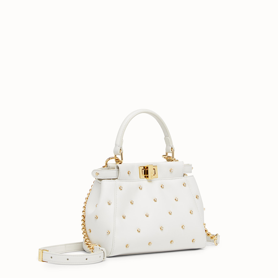 FENDI PEEKABOO XS - White leather mini-bag - view 2 detail