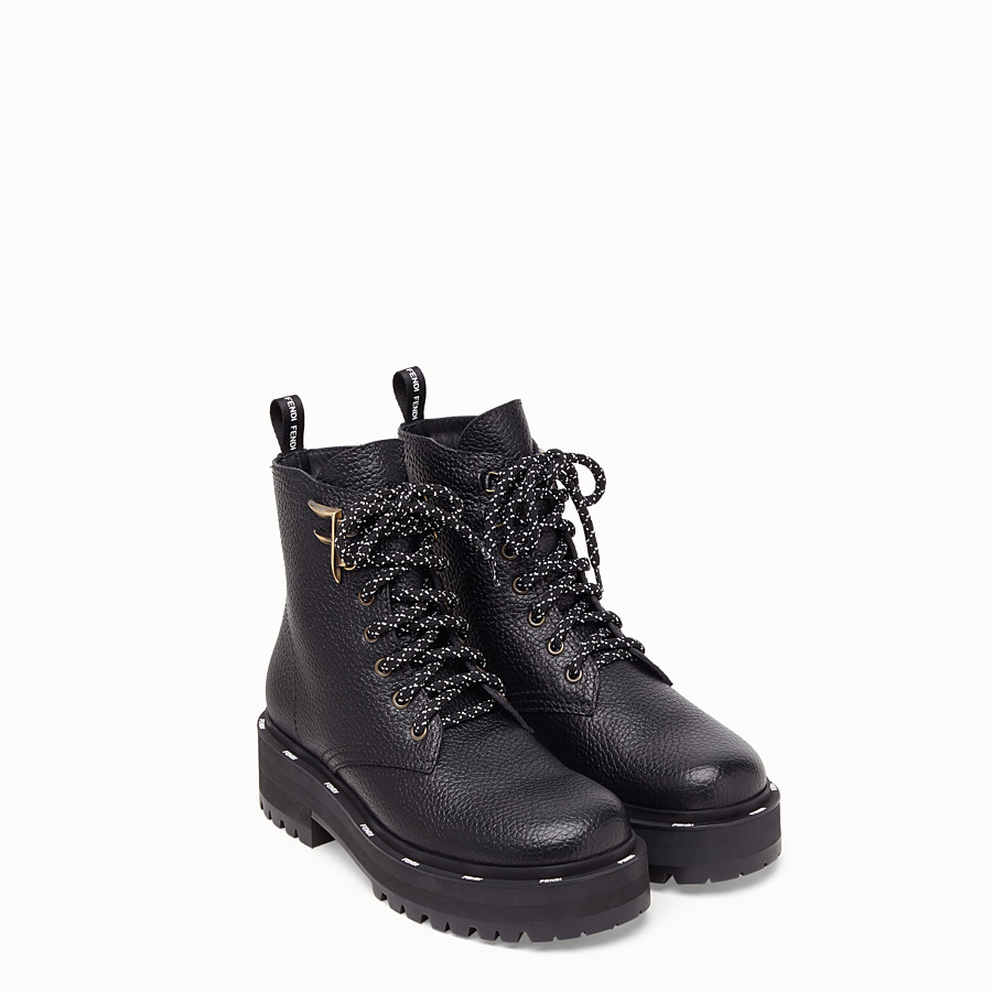 FENDI ANKLE BOOTS - Black leather biker boots - view 4 detail